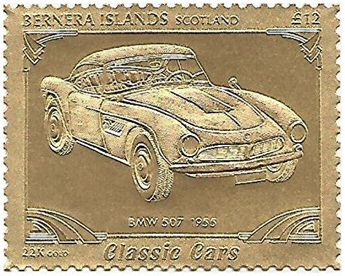 Unmounted Mint / Perforated / Twelve pounds face value Classic Car series stamp embossed in 22 carat gold foil featuring 1955 BMW 507 / Perfect for Collectors / Bernera / 1996 1955 Golden Stamp