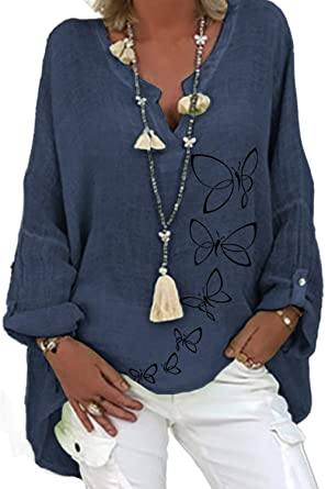 Women V Neck Long Sleeve Casual T Shirt Ladies Cotton Linen Oversize Tops Blouse