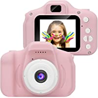 MeterMall CE Kids Digital Video Camera Mini Rechargeable Children Camera Shockproof 8MP HD Toddler Cameras Child Camcorder Pink