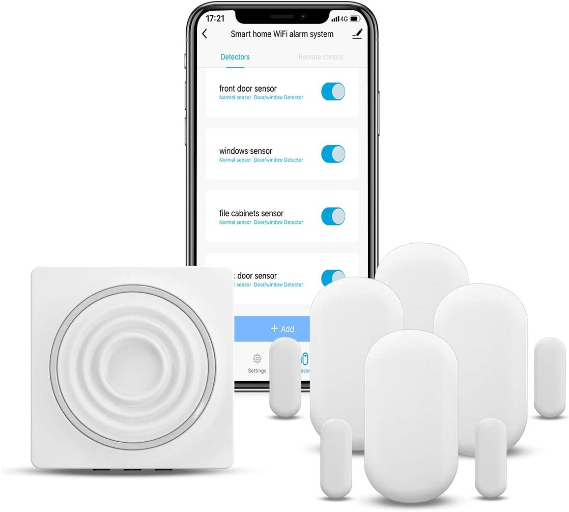 Koogeek Door and Window Alarm Remote Monitoring with Alexa Google Home Security Home iOS and Android No Hub Required Smart Home WiFi Door Sensor 2-Pack