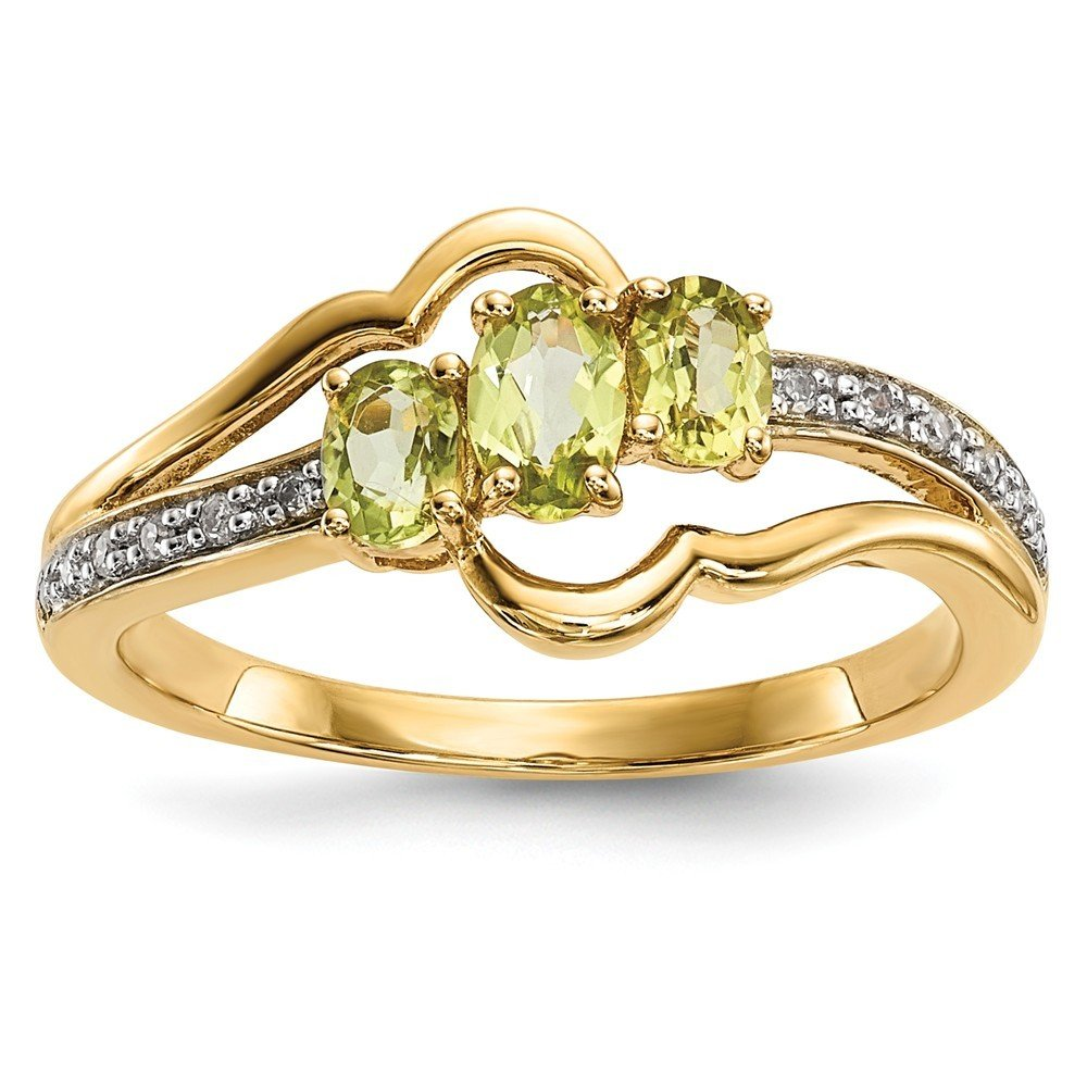 14k Gold With Peridot and Diamond Polished Ring