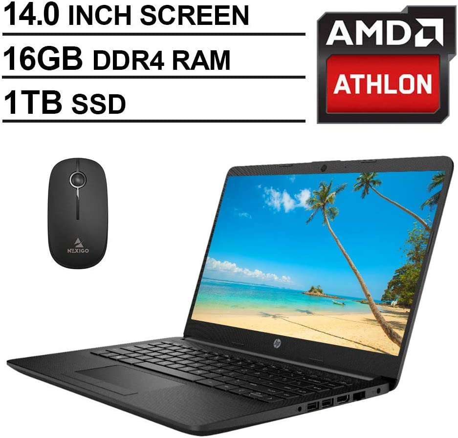 2020 Newest HP 14 Inch Non-Touch Premium Laptop, AMD Athlon Silver 3050U up to 3.2 GHz, 16GB DDR4 RAM, 1TB SSD, WiFi, HDMI, Windows 10 in S, Jet Black + NexiGo Wireless Mouse Bundle