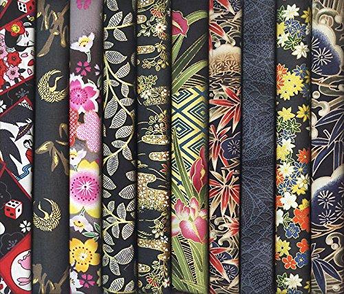 10 Black Asian Japanese Fat Quarter Quilt Fabric Bundle XXII (2 1/2 Yards (Asian Fabric)