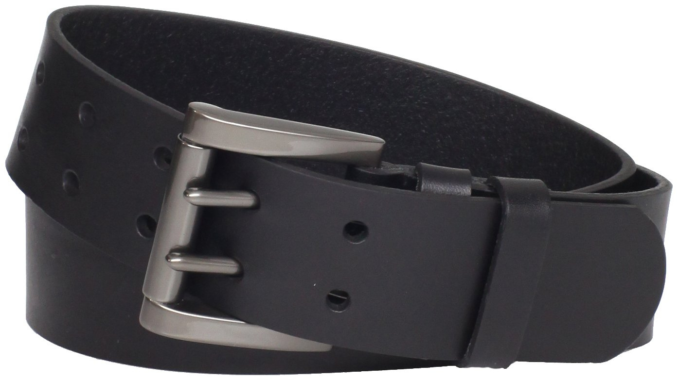 Levi's Men's Work Belt - Heavy Duty Thick Wide Soft Leather Strap with Silver Double Prong Buckle,Black,32