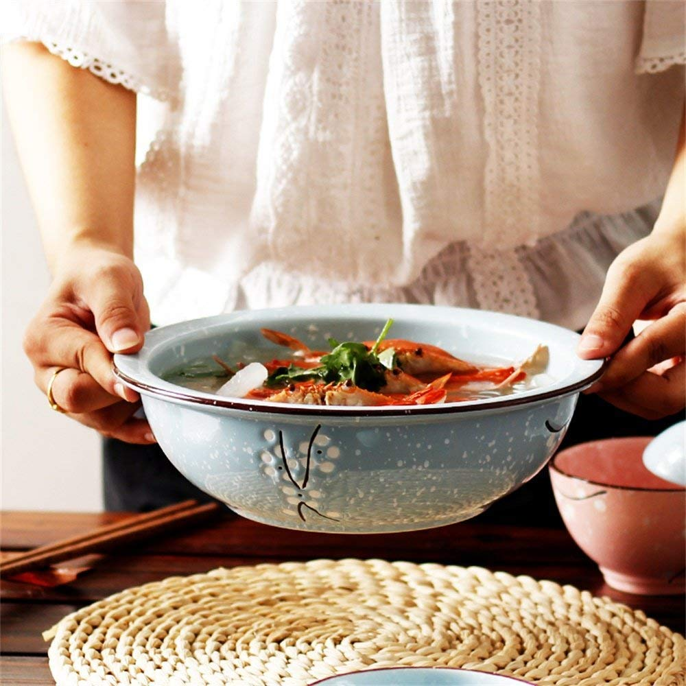 QTQHOME WCS Large Soup Ramen Noodle Bowl Creative Fruit Salad Mixing Serving Bowl Hand Painted Cherry Blossoms Ceramic Tableware Oven Microwave Safe 9 Inches (Color:Blue)