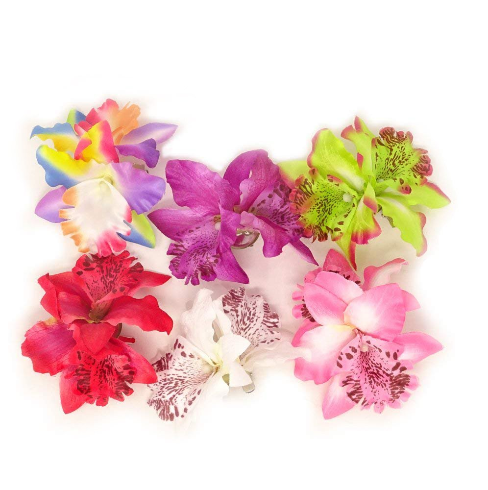 yueton Pack of 6 brooch Women's Orchid Hair Clip Flower Hair Pin Bobby Pin Bridal Party Hair Decor Accessories