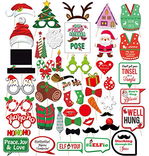 Christmas Photo Booth Props Kit(47Pcs), Konsait DIY Ugly Christmas Sweater Photo Booth Stick Funny Xmas Props Accessories for Adults Kids for Christmas Theme Party Favors Decorations Decor Supplies