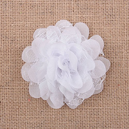 12 Pcs 3.9 Inch Pretty Bulk Flowers Diy Kinds of Beautiful White Flowers (White)