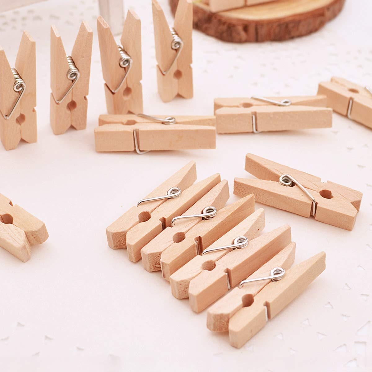 Mini Size 1.0 inch for Arts Crafts Hanging Home DIY Decor Plulatree 25-Pack Wooden Rack Clip Photo Paper Peg Pin Craft Clips Mini Clothespins Photo Clips for Grid Panel Photos
