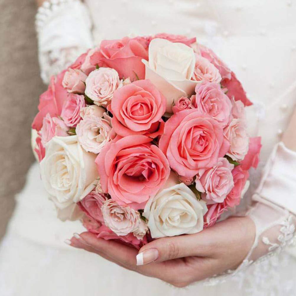 Qeedio Lot de 3 supports de bouquet de mari/ée en mousse avec poign/ée florale