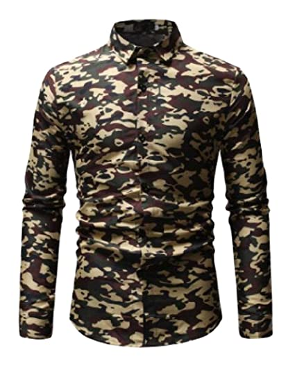 75cf72379e6 WSPLYSPJY Mens Casual Slim Fit Camo Long Sleeve Button Down Shirt at ...