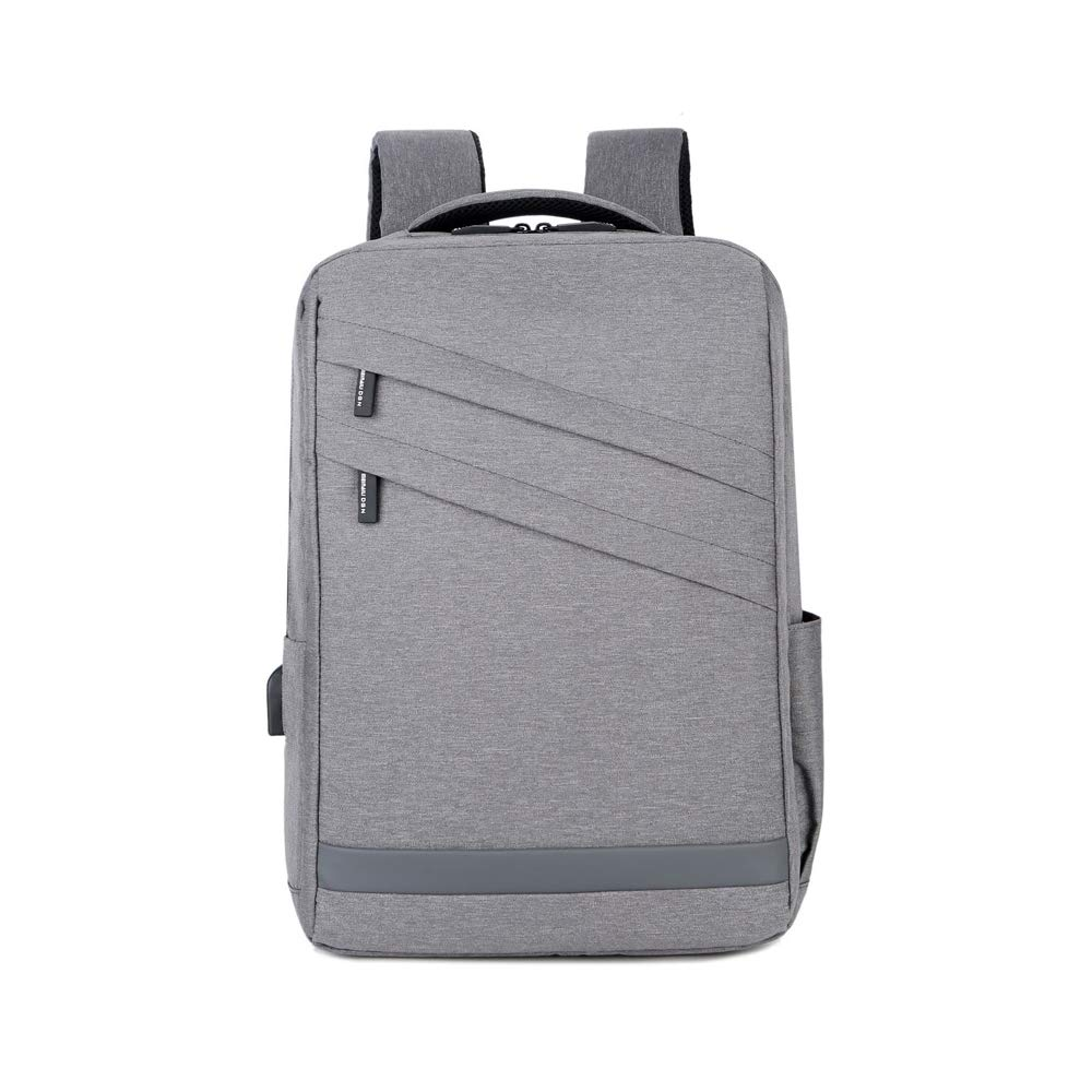 Grey BABIILUN Waterproof Oxford School Backpack Big Capacity 15Inch Laptop Backpack Front Zipper Design School Bag