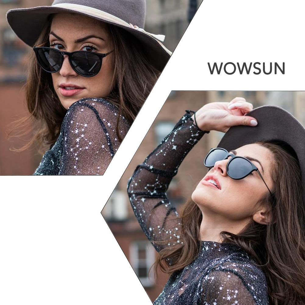 WOWSUN Polarized Sunglasses for Women Vintage Retro Classic Round Black Lens