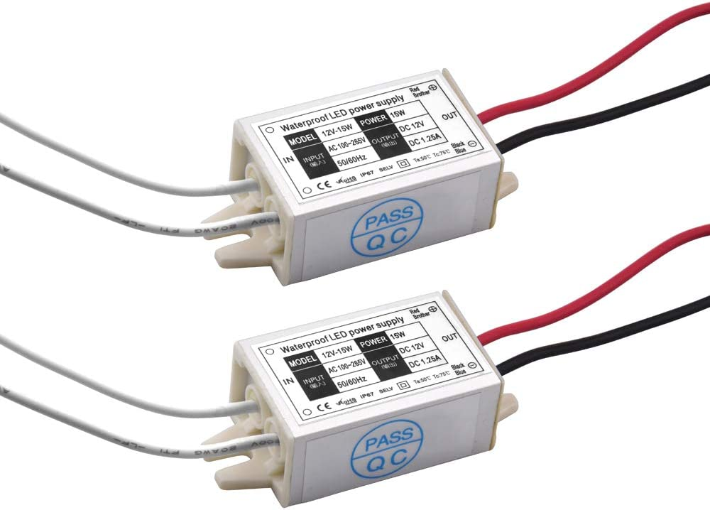 DC 12V LED Power Supply Driver Transformer - Lustaled 15W Waterproof IP67 120VAC to 12V DC Converter Constant Voltage LED Switching Power Supply for LED Strip Lights, G4 MR11 MR16 LED Display (2-Pack)