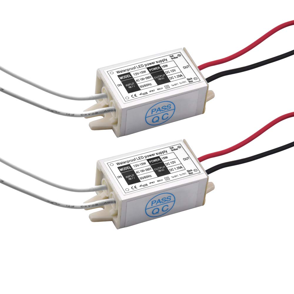 DC 12V LED Power Supply Driver Transformer, Lustaled 15W Waterproof IP67 LED Switching Power Supply for LED Strip Lights, G4, MR11, MR16 LED Light Bulbs (2-Pack) by Lustaled