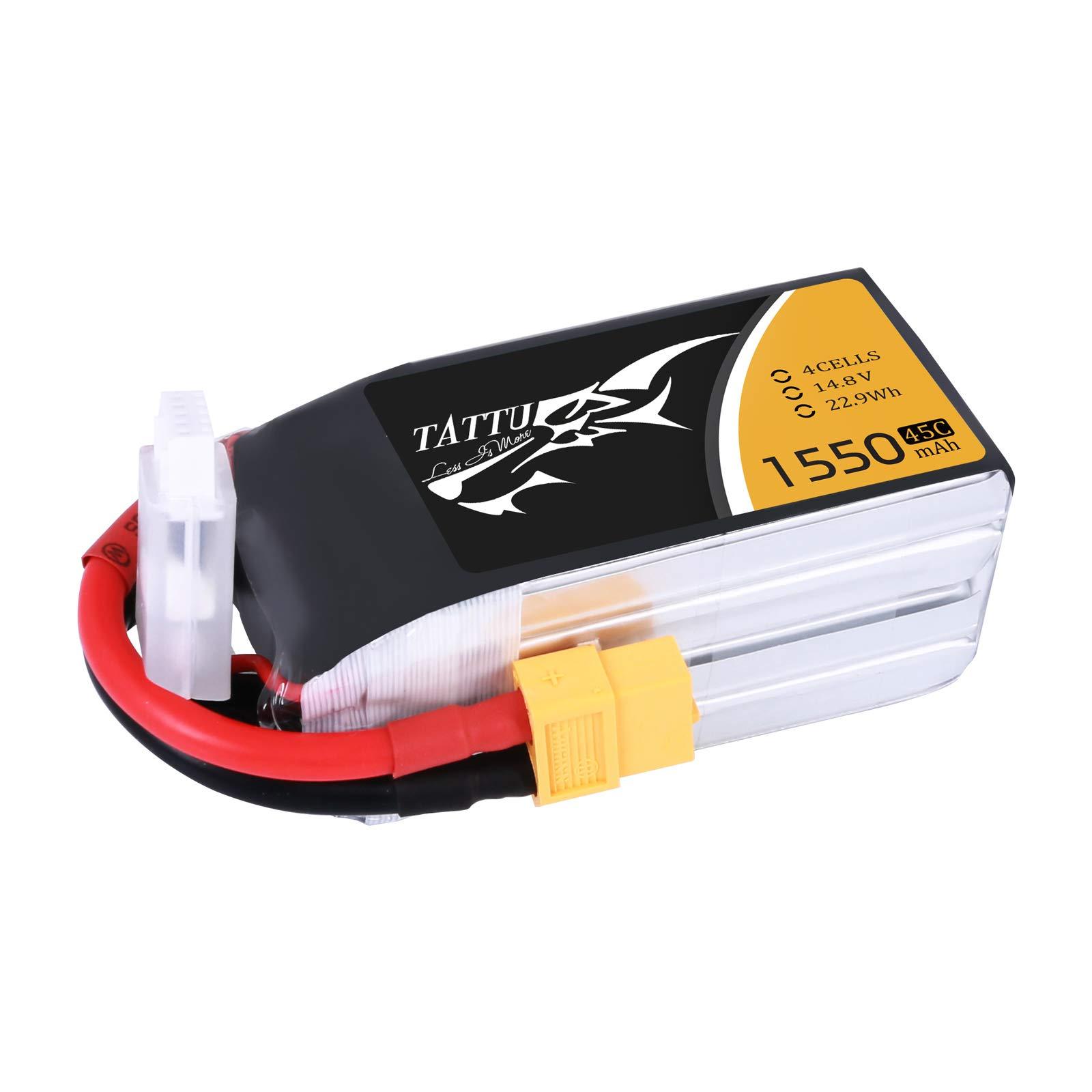 TATTU 1550mAh 14.8V 45C 4S LiPo Battery Pack with XT60 Plug for RC Boat Truck Heli Airplane UAV Drones FPV