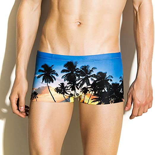 b6311ab73cc21 AMSKY Beach Shorts for Men,Fashion Men Breathable Trunks Pants Beach Print  Running Swimming Underwear