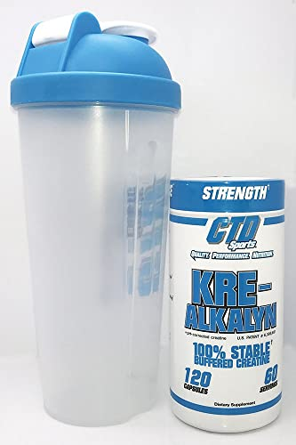 Free Shaker Cup Promo, Pure Kre-Alkalyn Creatine Pills 120 Capsules, Premium Creatine Supplement for Men and Women.