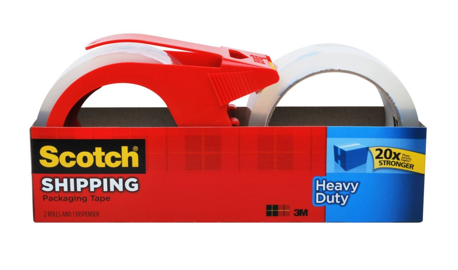 Scotch Heavy Duty Shipping Packaging Tape 2-Pack 1.88-in x 163.8-ft Clear Packing Tape (3850-21RD)