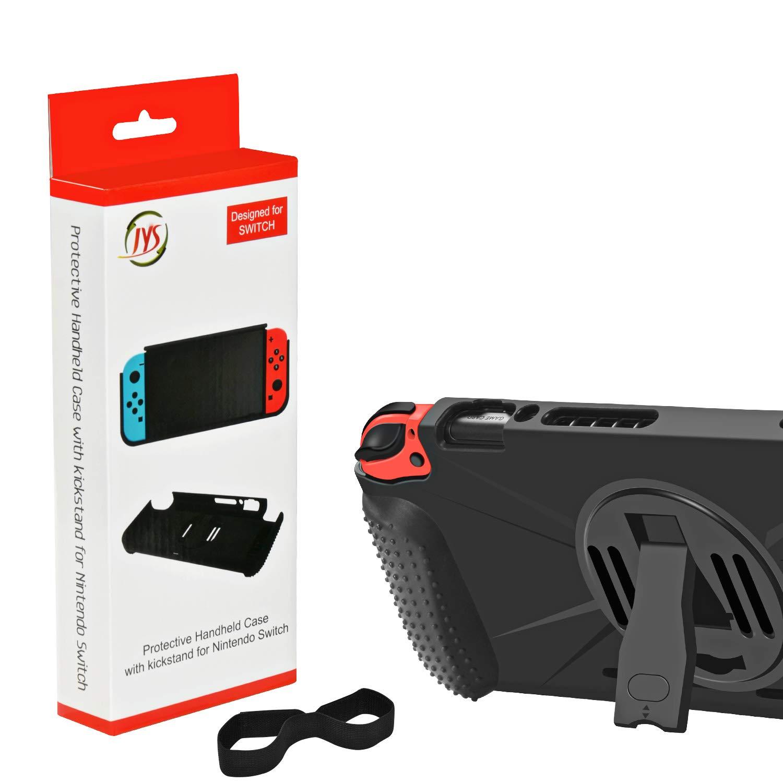 ElephantStory Hülle für Nintendo Switch, TPU Schutzhülle Case für Nintendo Switch Zubehör mit Schutzfolie mit Stoßdämpfung Anti-Scratch Weicher Schwerlast Cover mit Ständer (Schwarz