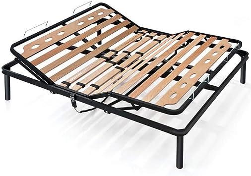 EVERGREENWEB ❤️ El mejor somier ELÉCTRICO de listones de madera, MOTORIZADO, reforzado con estructura de hierro doble + 4 patas extraíbles