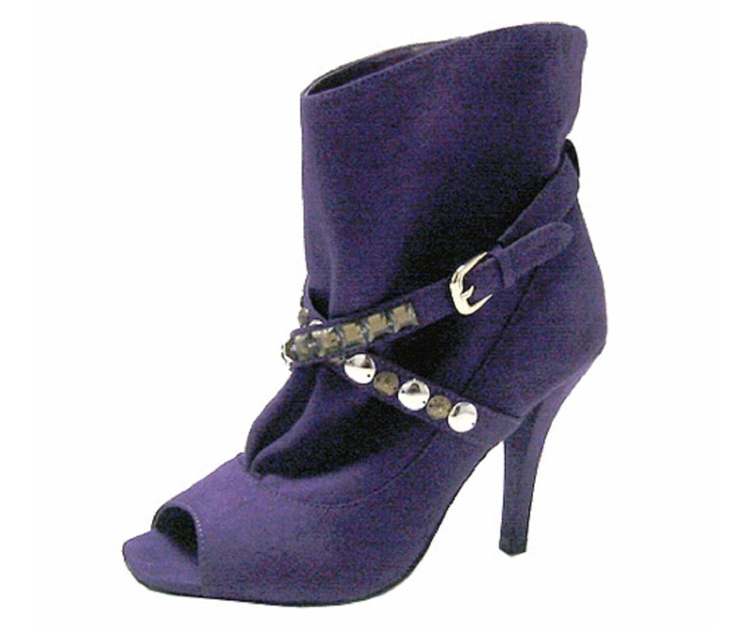 Wild Diva Clair-10 Peep-toe Ankle Pump Booties with Jewelry Straps (5.5, Purple)