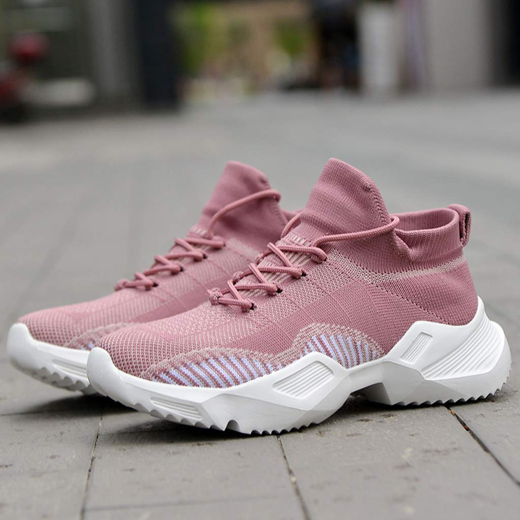 Moonker Womens Casual Breathable Mesh Shoes Walking Running Sport Shoes Lace-Up Sneakers