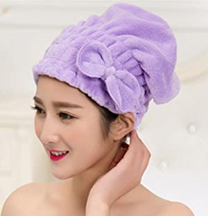 Purple Velvet Butterfly Knot Cuper-Absorbent Dry Hair Cap Towel Dry Hair Turban