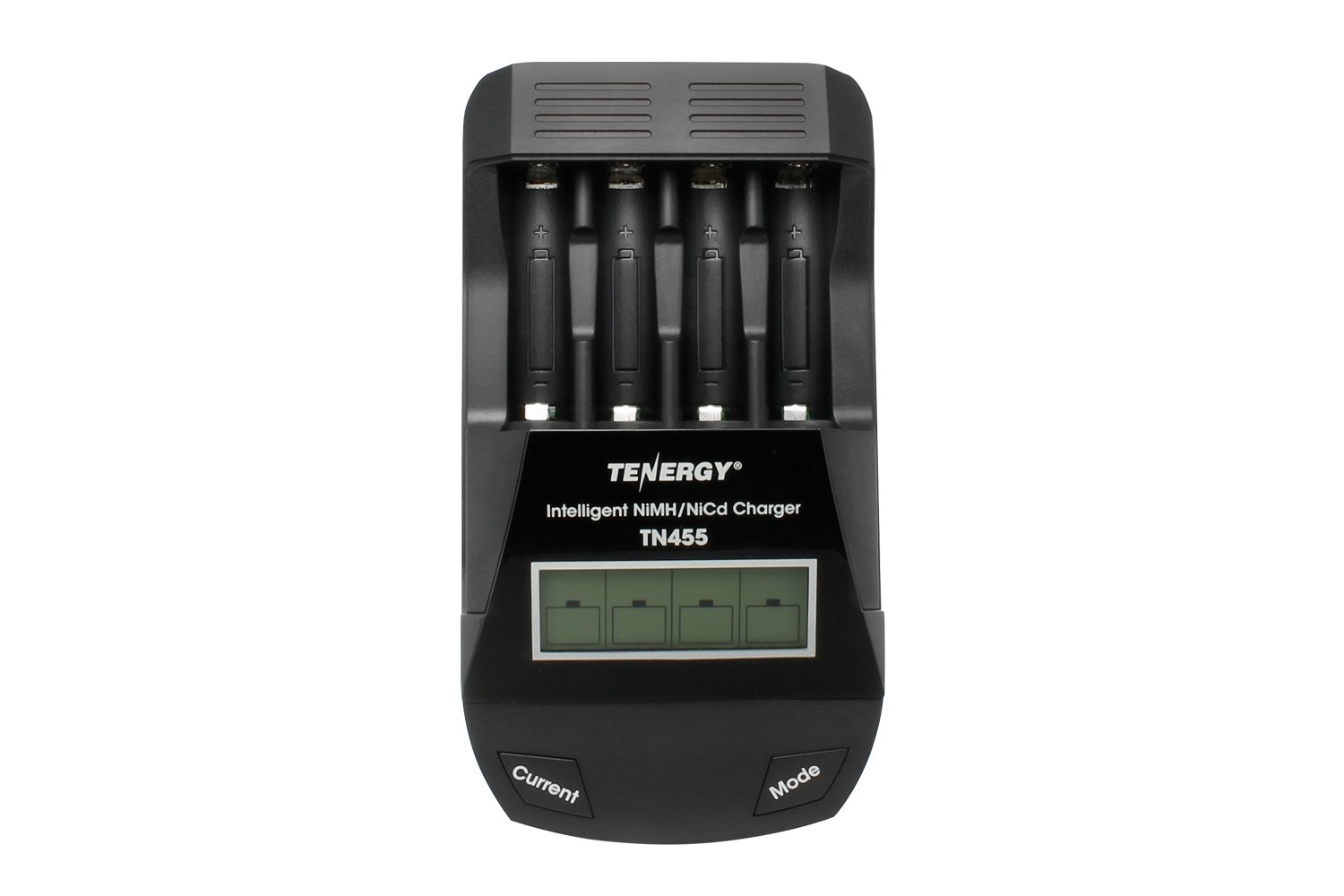 Tenergy TN455 Intelligent Battery Charger for NiMH, NiCd AA, AAA Rechargeable Batteries with 4-Bays, LCD Screen, USB Output (Charge, Discharge, Refresh, Test)