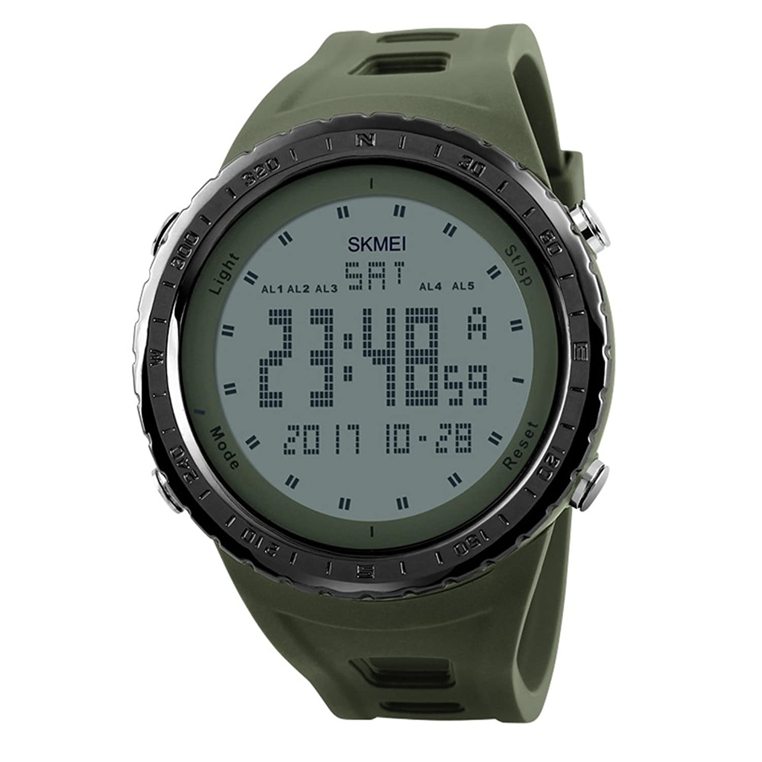 Amazon.com: Mens Big Dual Dial Watches Digital Military Sport Police WristWatch for Men Green: Watches