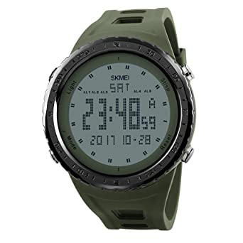 Mens Big Dual Dial Watches Digital Military Sport Police WristWatch for Men Green