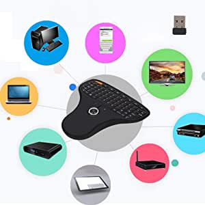 Wendry N5901 QWERTY Keyboard,Mini USB Multimedia Keyboard,Trackball 2.4G Wireless Keyboard,Pocket Keyboard and Mouse 2-in-1,for TV Computer
