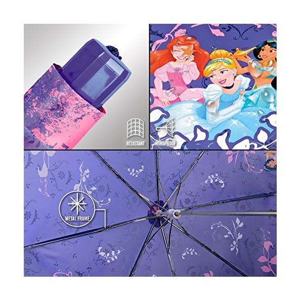 Perletti-50426-Ombrello-Principesse-Disney-Bambina-Pieghevole-Apertura-Manuale-Diametro-91-cm