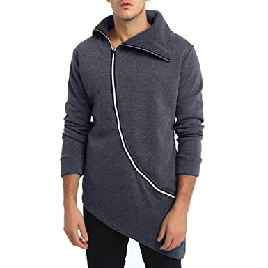 5255d2a89f7a Longra Herren Asymmetrisch Sweatjacke Sweatshirtjacke Pullover-Jacken mit  Reverskragen Reißverschluss Herren Herbst Winter Jacke Mantel