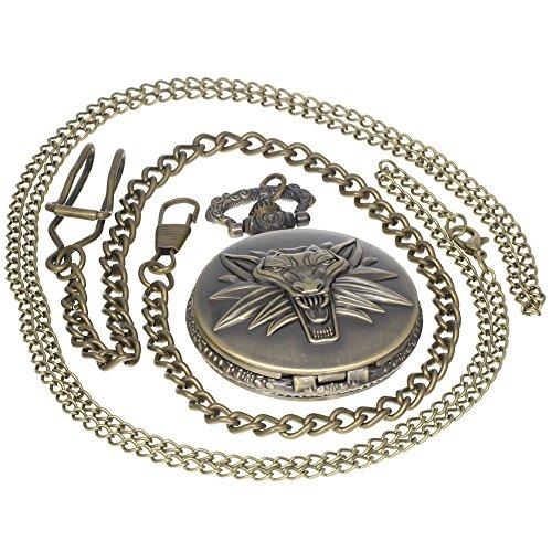 3 Open Pockets (The Witcher Quartz Pocket Watch Wizard Wolf Wild Hunt 3 Figure Game Vintage Bronze Men Women Children Kids Gift 1 PC Necklace 1 PC Clip Key Rib Chain)