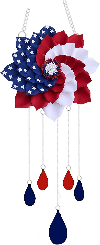 Soluoc Patriotic Wind Chime Unique Outdoor Indoor Hanging Mobile Bell Windchime for Garden Lawn Yard Patio Waterproof Metal Glass Patriotic American Flag Home Decor (Multicolor)
