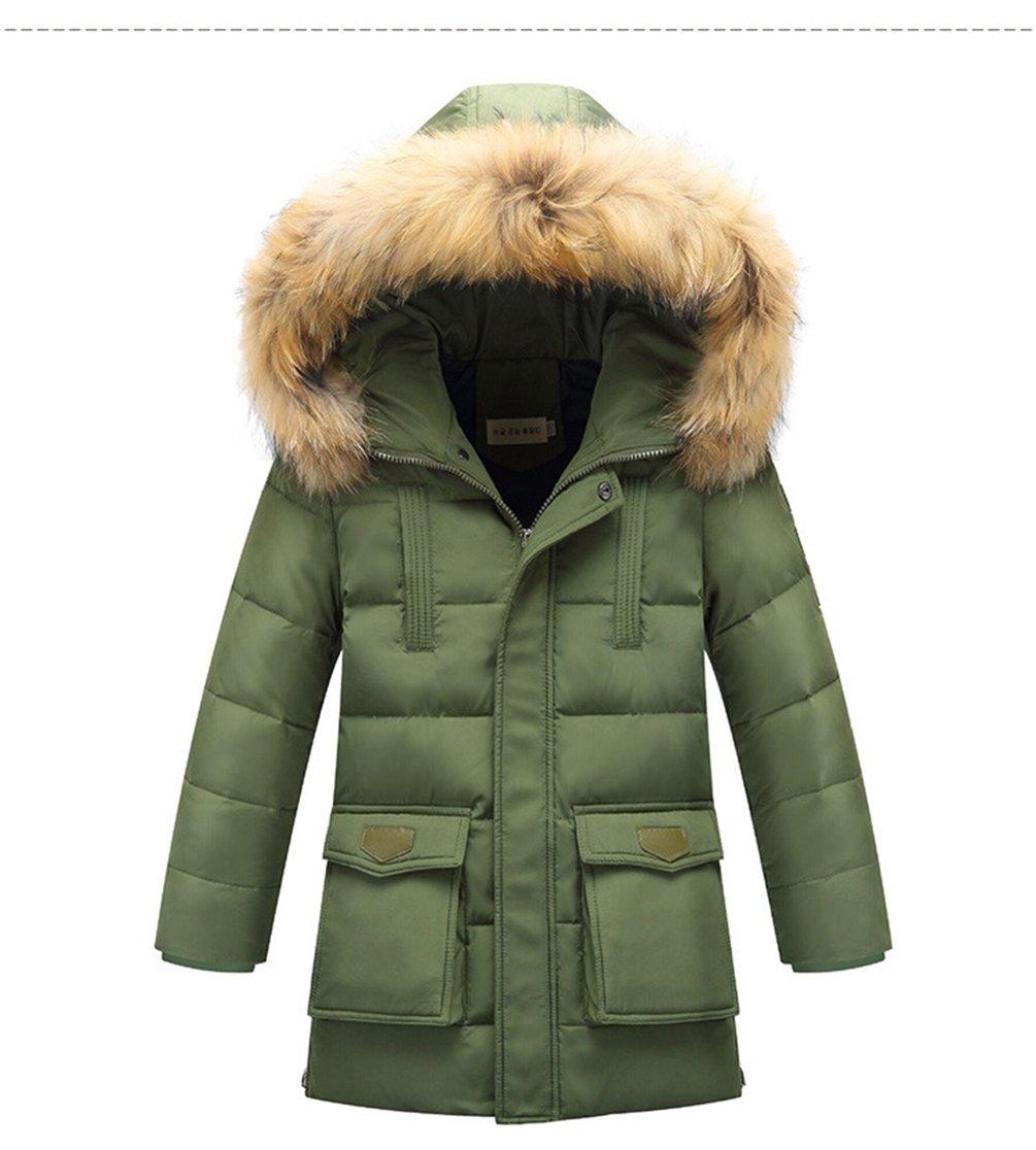 Menschwear Boy's Down Fur Hooded Jacket Winter Warm Outwear Winter Coat (150,Green)