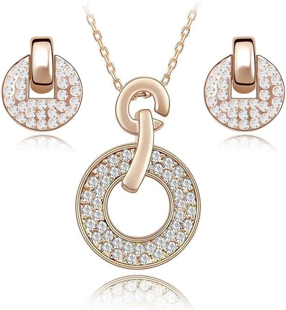 Blanco Crystals from Swarovski Redondo Juego de joyas Collar con colgante 45 cm Pendientes 18k Chapado en oro rosa para mujer