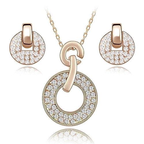 50705aa719b4 Blanco Crystals from Swarovski Redondo Juego de joyas Collar con colgante  45 cm Pendientes 18k Chapado en oro rosa para mujer  Amazon.es  Joyería