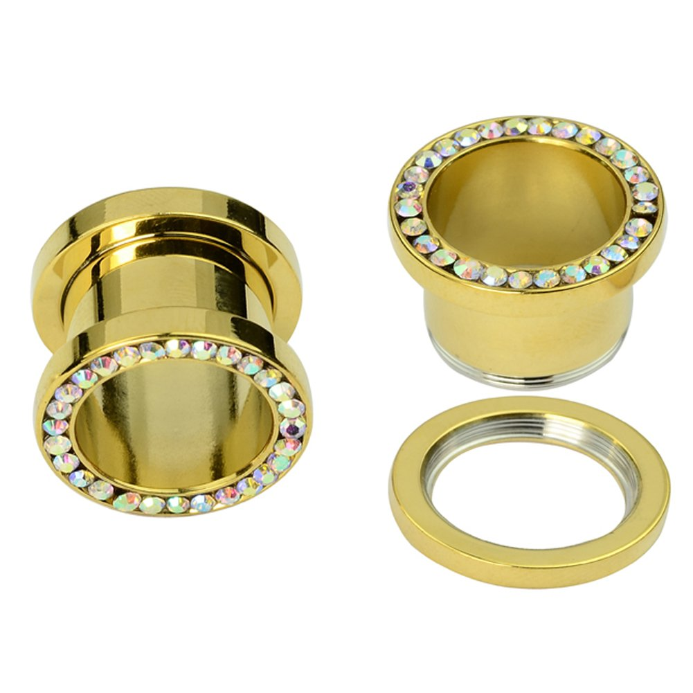 MyNewLine Tunnel Plug Stainless Steel Gold Plated Crystal AB CZ Gem Rimmed Screw Fit Ear Flesh Plugs Pair