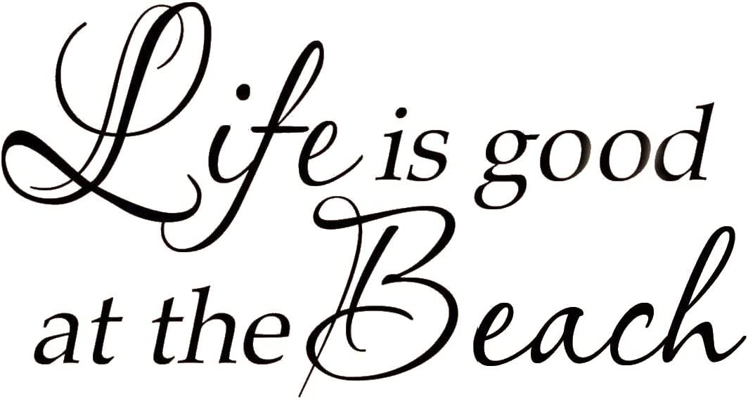 Life Is Good At The Beach Wall Decal Inspirational Quote Home Decor Sticker Surfing