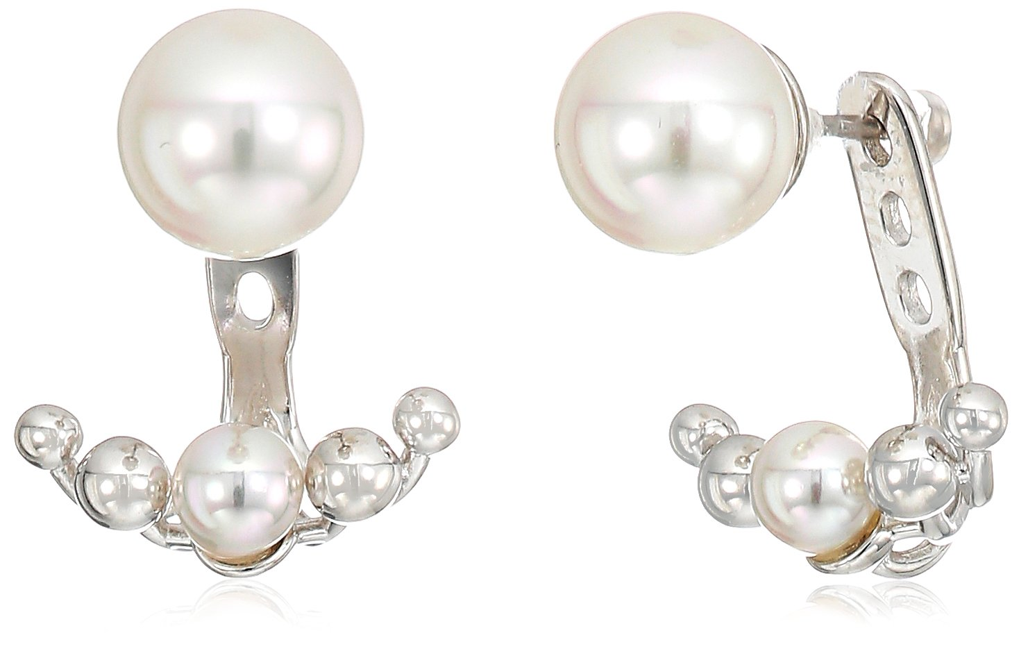 Majorica 5/8mm White Round Pearl On A Sterling Silver Earring Jacket