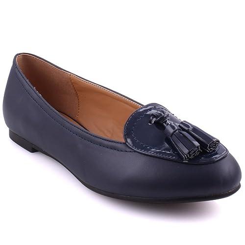 Unze Las Mujeres JELLA Borla Adornado Vestido de Noche Formal Vamp Patente UK Mocasines de tamaño 3-8: Amazon.es: Zapatos y complementos
