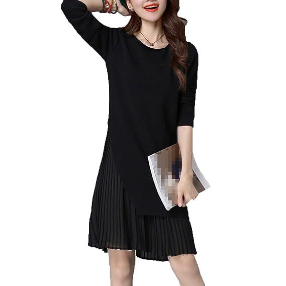 40cd1d4ece1 Womens Fashion Long Knitted Jumper Dress Spliced Pleated Hem Long Sleeve  Swing Sweater Dress  Amazon.co.uk  Clothing