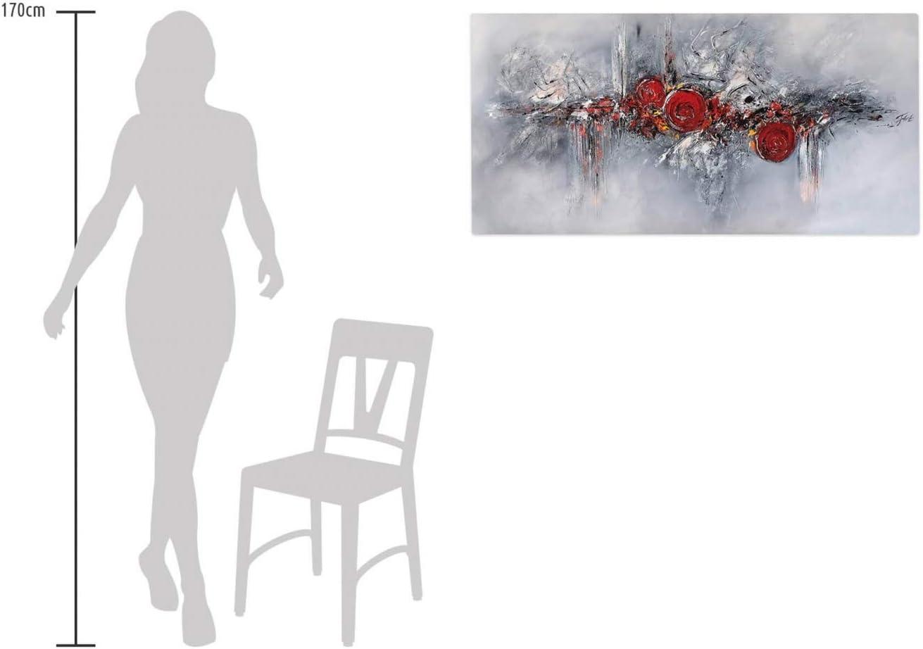 Tableau Acrylique Peint /à la Main Abstrait Sculpture Gris Rouge KunstLoft/® Peinture Acrylique sur Toile Pearls and Roses 120x60cm Toile sur Cadre en Bois