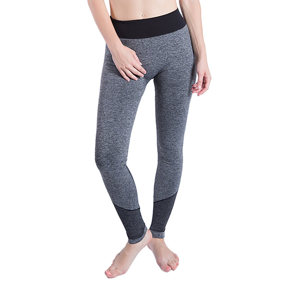 iLUGU Women Gym Yoga Patchwork Sports Running Fitness Leggings Pants Athletic Trouser(S,Black-5)