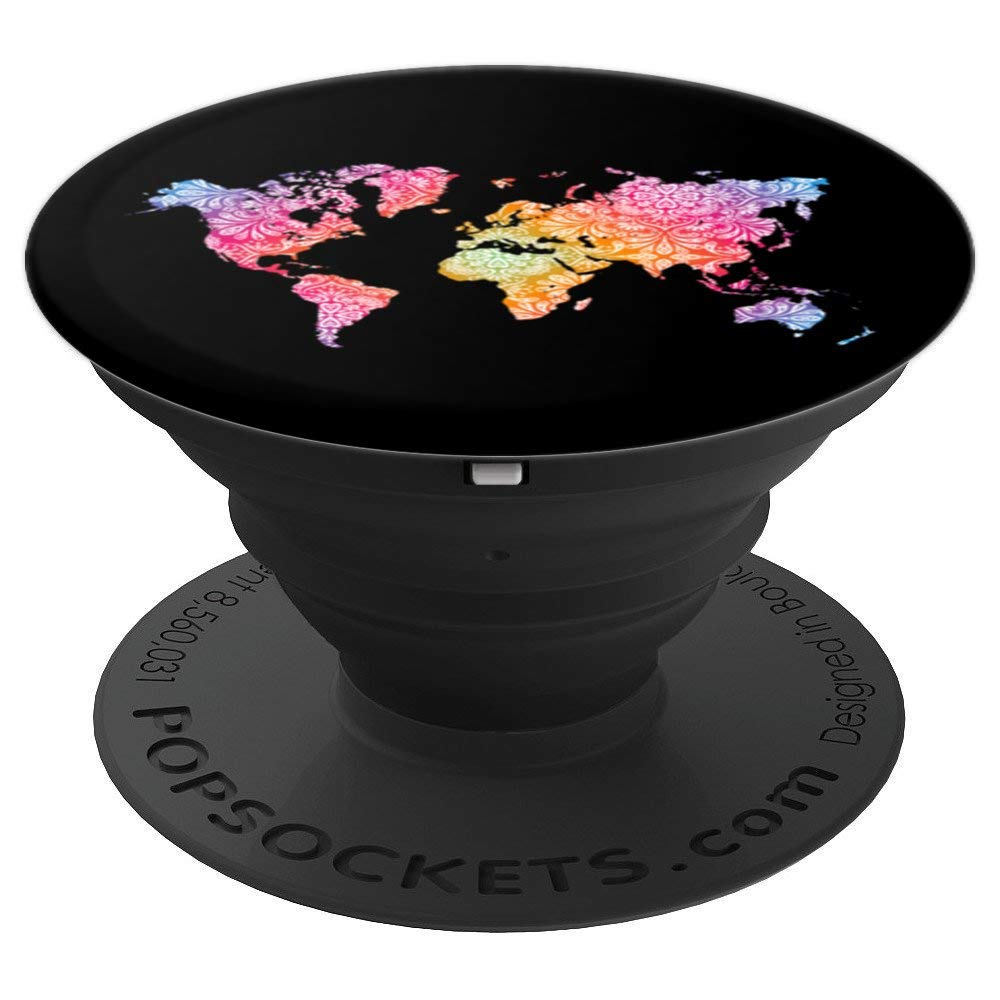 Mandala World Map for Travellers, Adventurer, Travel Gift - PopSockets Grip and Stand for Phones and Tablets