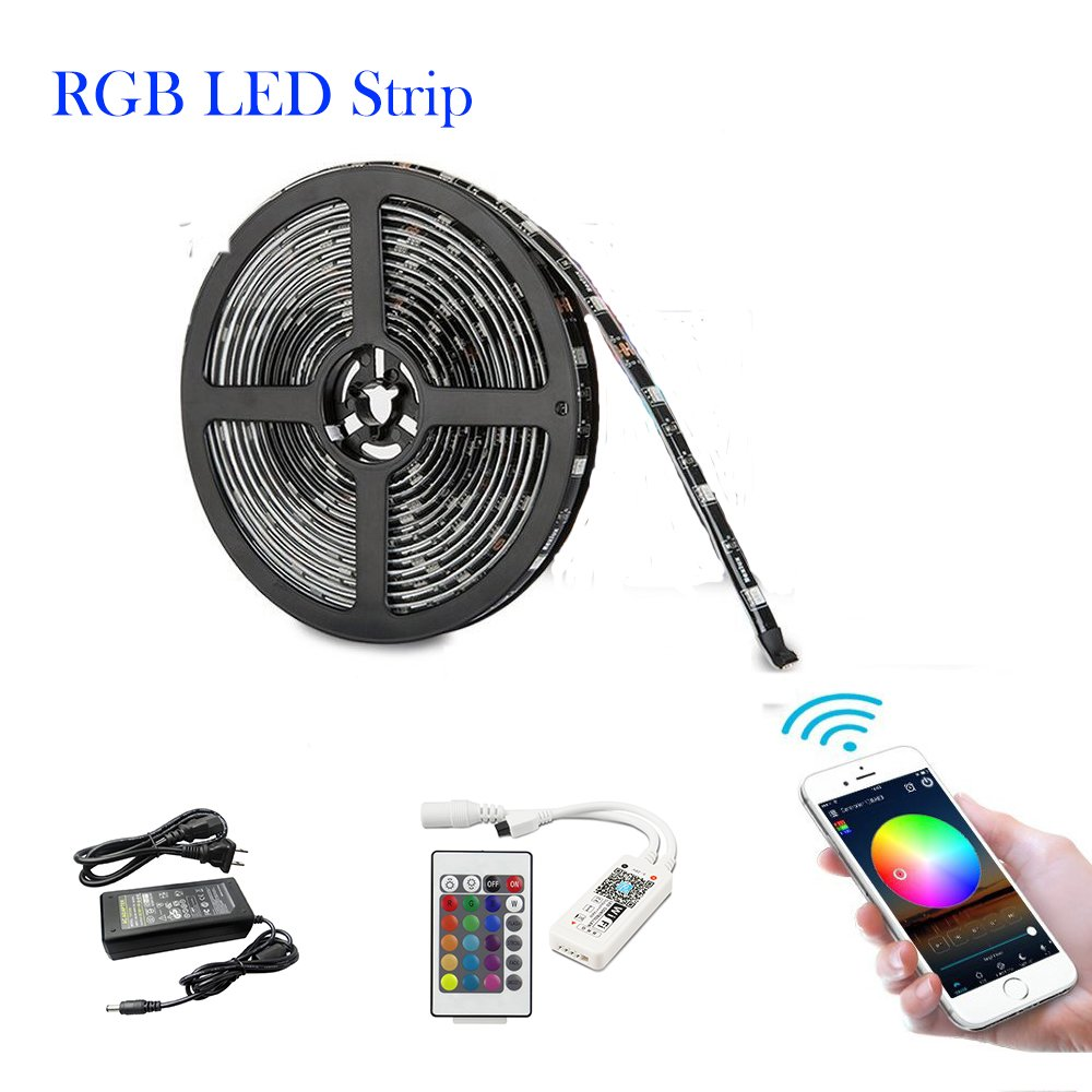 BRIGHTINWD Holiday Decoration- RGB LED Strip Light Kit with SMD 5050 Waterproof RGB LED Strips 12V DC Adapter and WIFI Remote Controller Smart Phone Control Shenzhen Tianci lighting co. ltd