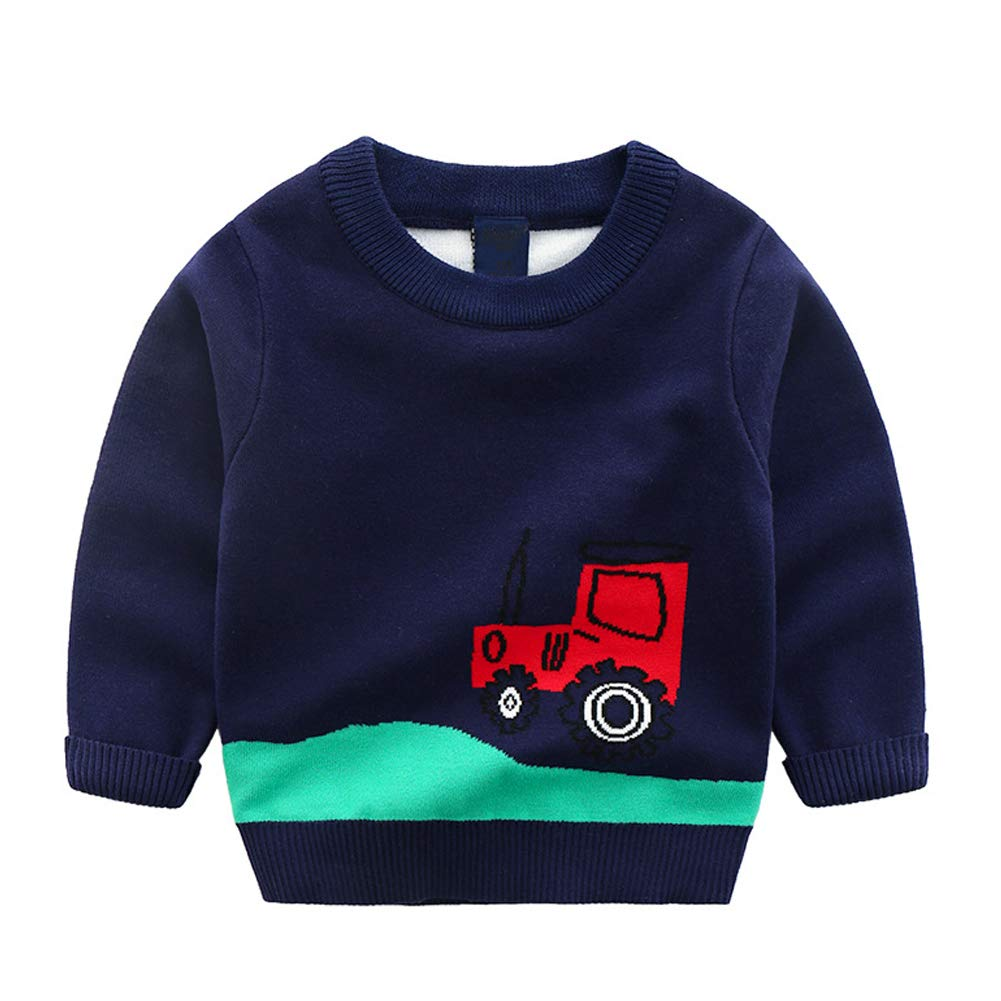 Jomago Boys Long Sleeve Sweater Cartoon Round Neck Knitting Toddler Pullover Shirts Top