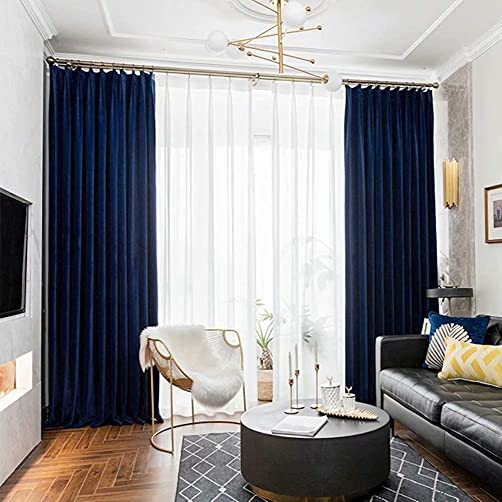 MacoHome Blue Velvet Blackout 102 inches Long Curtain Heavyweight Thermal Insulated Grommet Drape